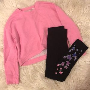 Justice Leggings & Kidpik Crop Top Size 7